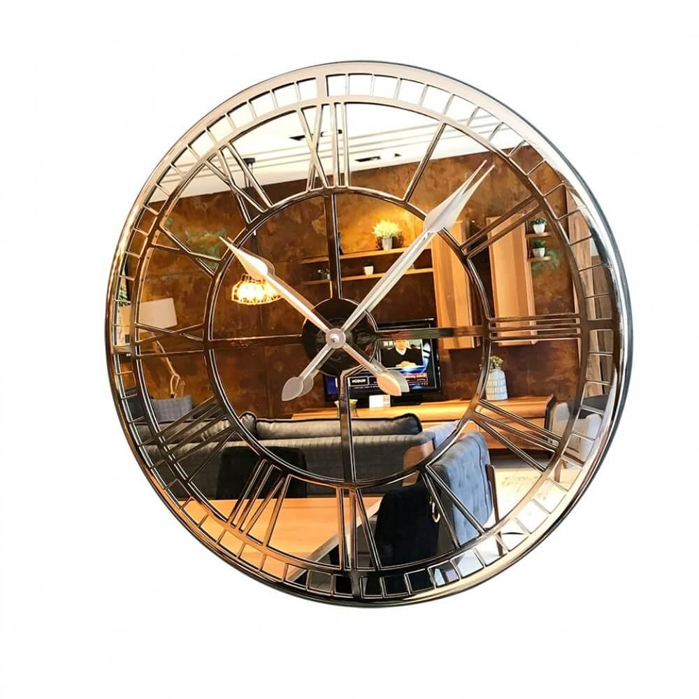 60 cm Aynalı Krom Metal Lüks Duvar Saati Saatler