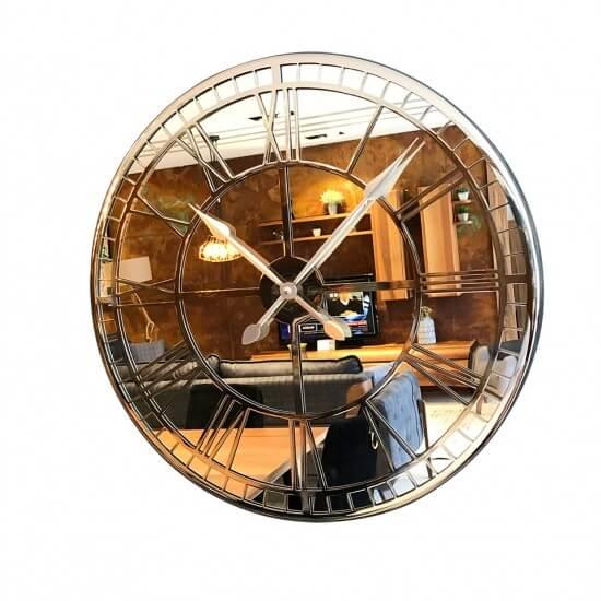 50 cm Aynalı Krom Metal Lüks Duvar Saati Saatler
