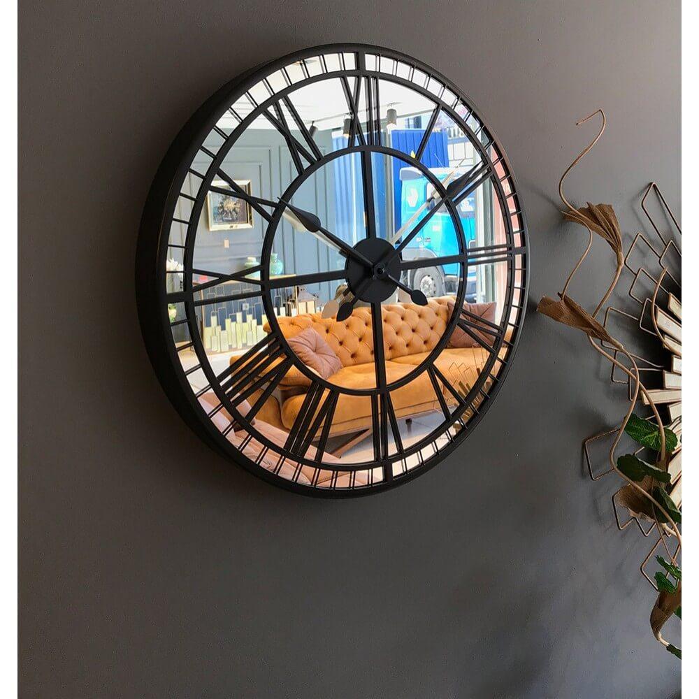 50 cm Aynalı Antrasit Metal Lüks Duvar Saati Saatler