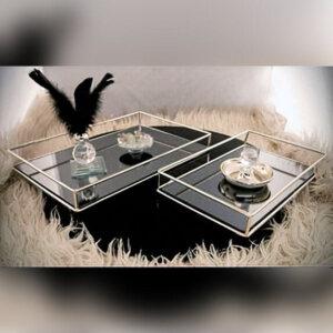2 adet Dikdörtgen Dekoratif Aynalı Lüks Metal Tepsi Seti 33x22cm Dekoratif Ürünler