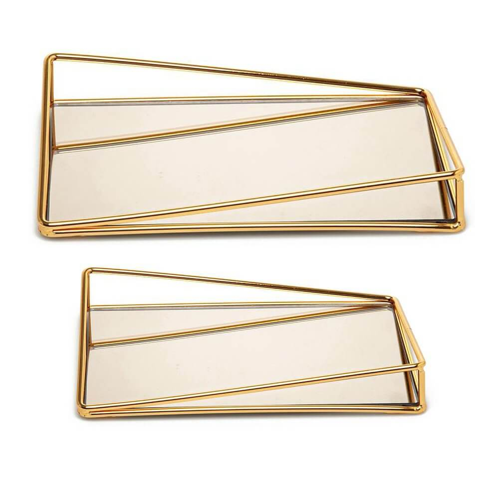 2 adet Fiyonk Dikdörtgen Aynalı Lüks Metal Tepsi Seti 35x25cm Dekoratif Ürünler
