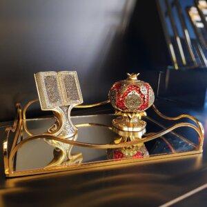 Dalga Aynalı Metal Sunum Tepsi 24x30cm Dekoratif Ürünler