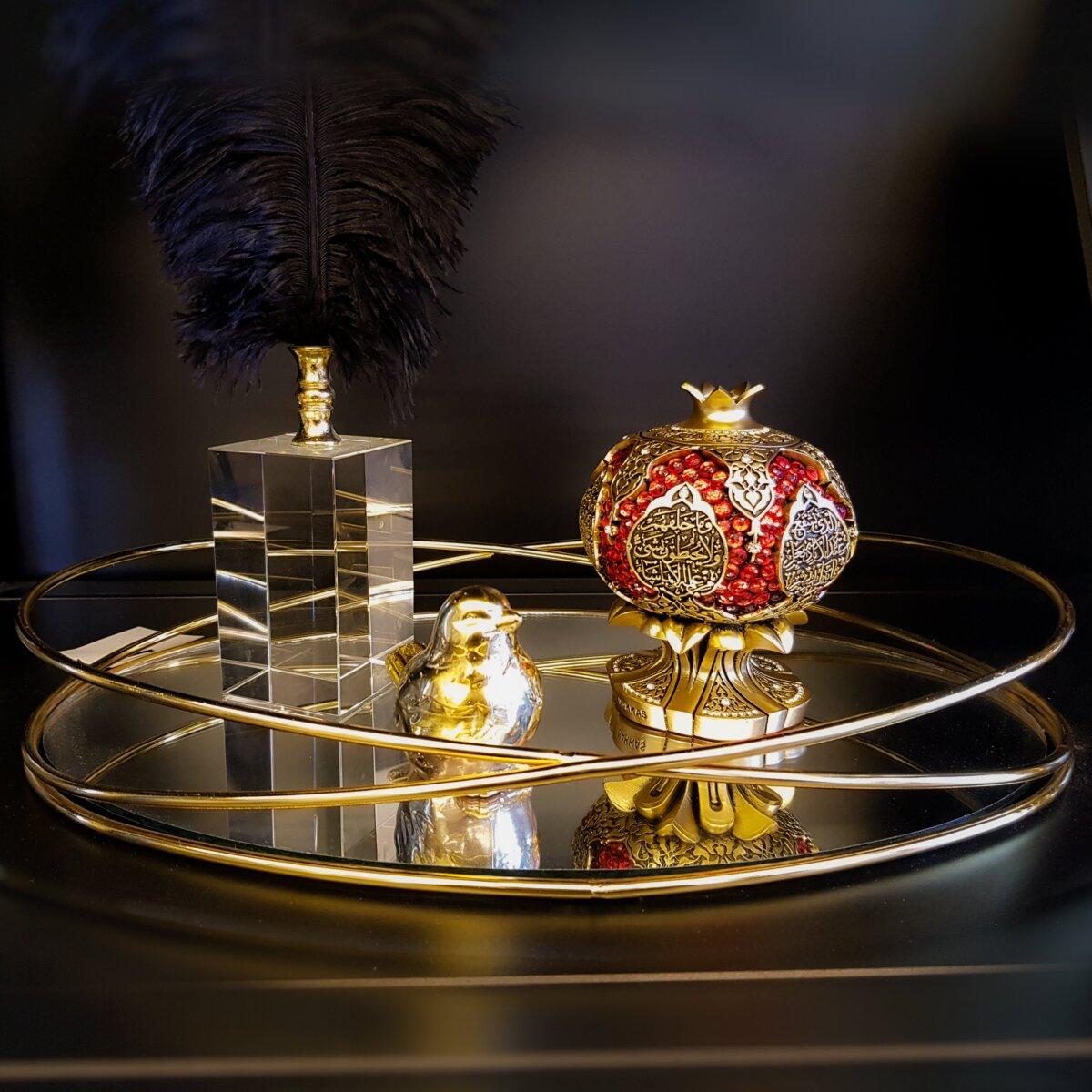 Dekoratif Alyans Aynalı Metal Sunum Tepsi Dekoratif Ürünler
