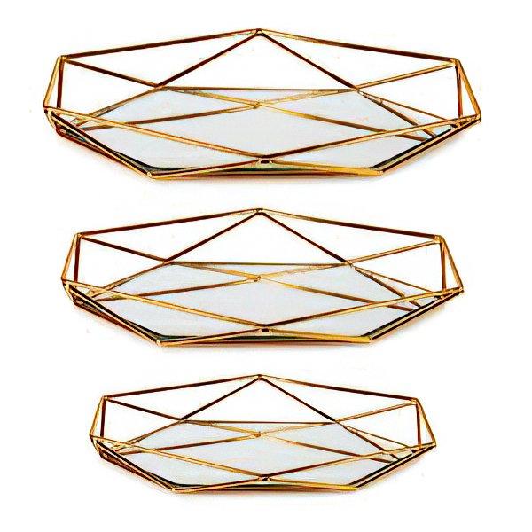 Prizma Aynalı Metal Sunum Tepsi Dekoratif Ürünler
