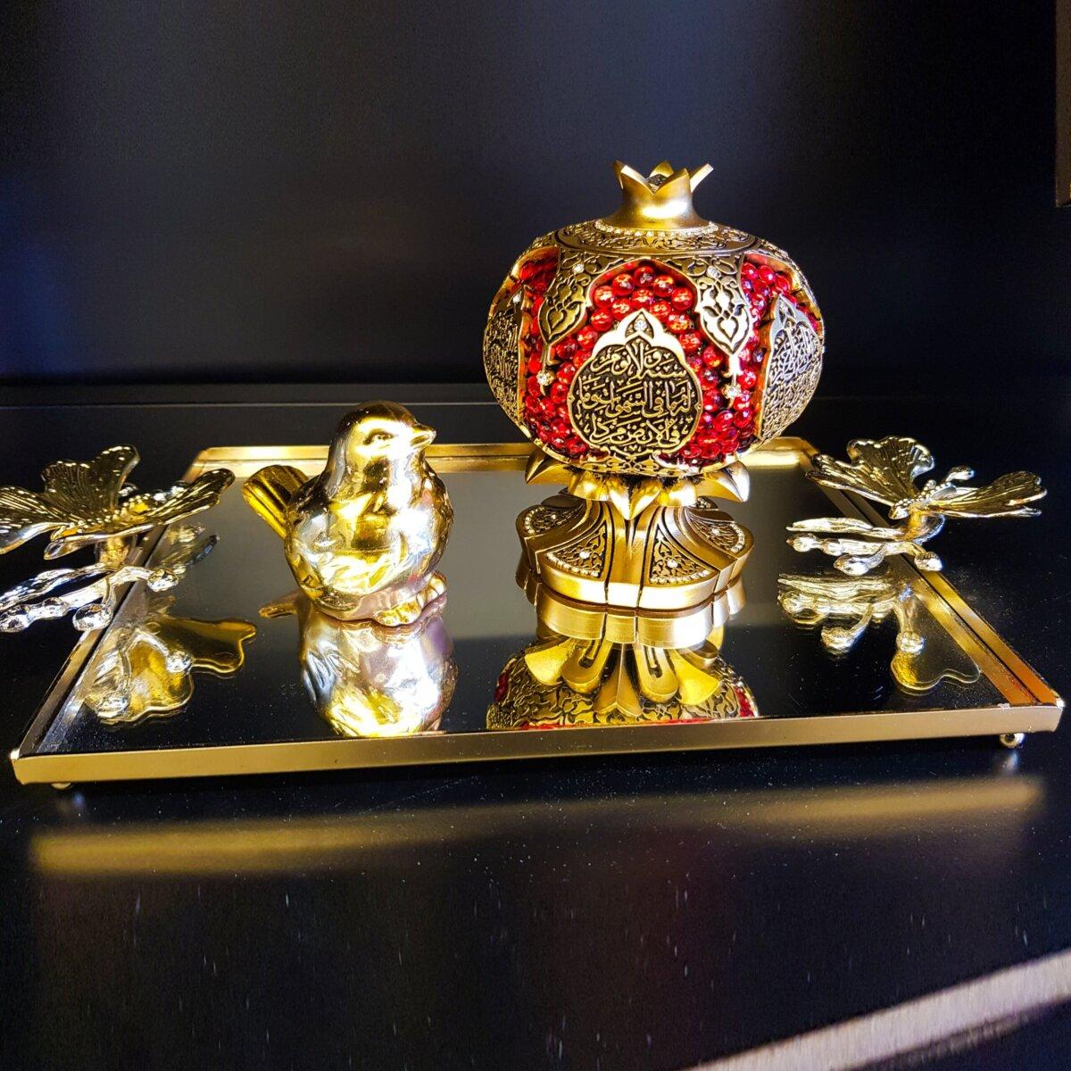 Kelebek Dekoratif Aynalı Metal Sunum Tepsi Dekoratif Ürünler