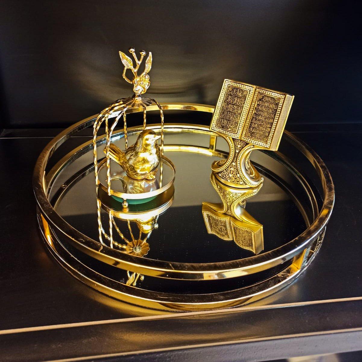 Dekoratif Yuvarlak Aynalı Metal Sunum Tepsi Dekoratif Ürünler