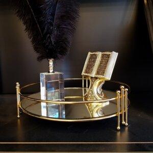 Bahar Dekoratif Aynalı Metal Sunum Tepsi 30x10cm Dekoratif Ürünler