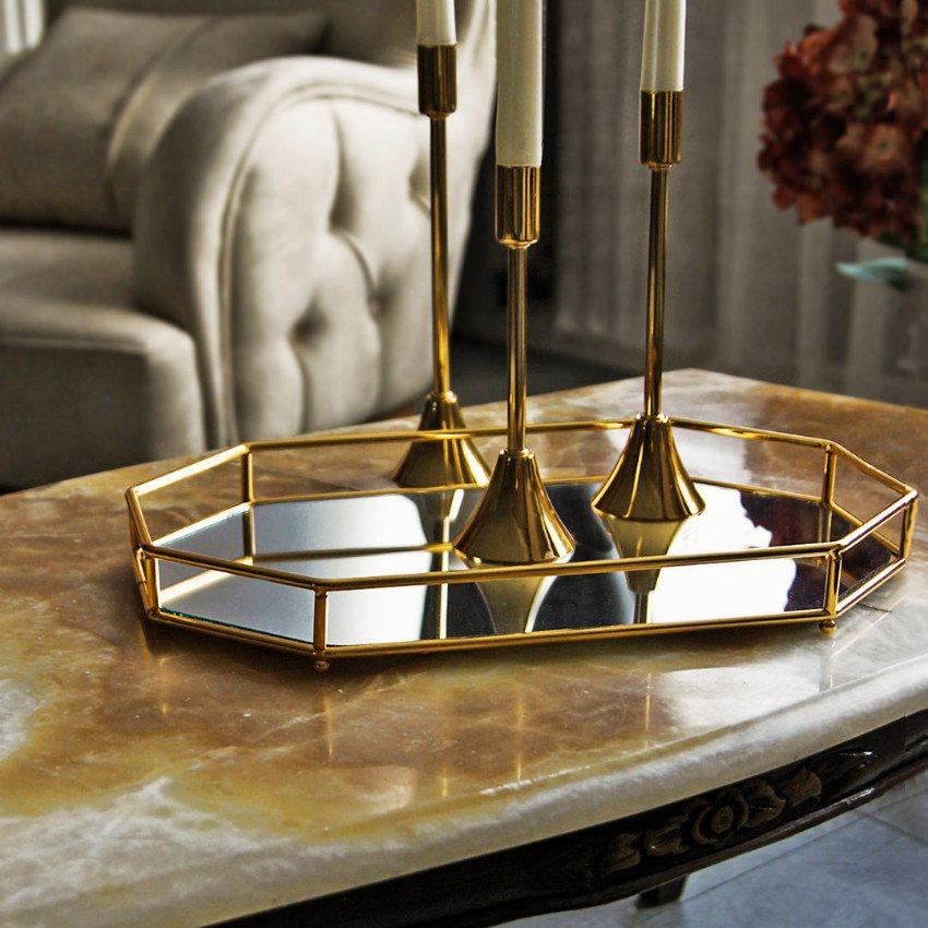 Dekoratif  Orkide Aynalı Metal Sunum Tepsi Dekoratif Ürünler