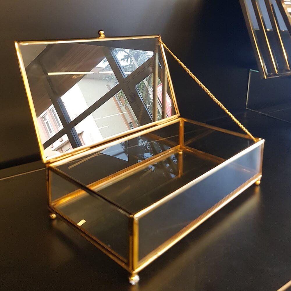 Büyük  Metal Dikdörtgen Cam Kutu Aksesuar, Çukulata Kutusu Dekoratif Ürünler
