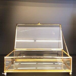 Mini Prizma Altıgen Cam Kutu Metal Yüzük, Takı Kutusu Dekoratif Ürünler