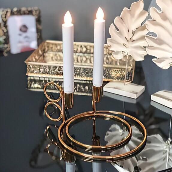 İkili Kandil Mumluk Metal Şamdan Dekoratif Ürünler