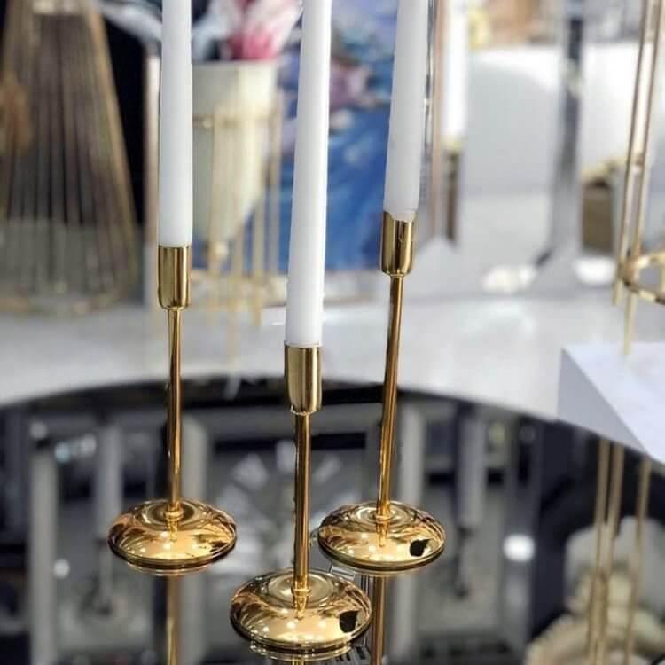 Dekoratif  Mumluk Üçlü Metal Şamdan Seti Dekoratif Ürünler