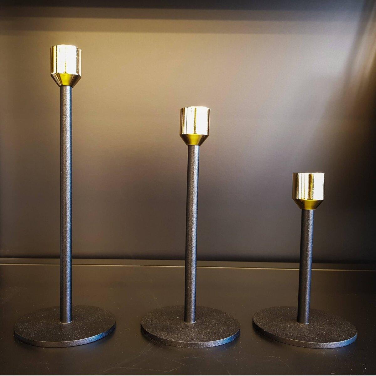 Dekoratif  Mumluk Üçlü Metal Siyah Şamdan Seti Dekoratif Ürünler