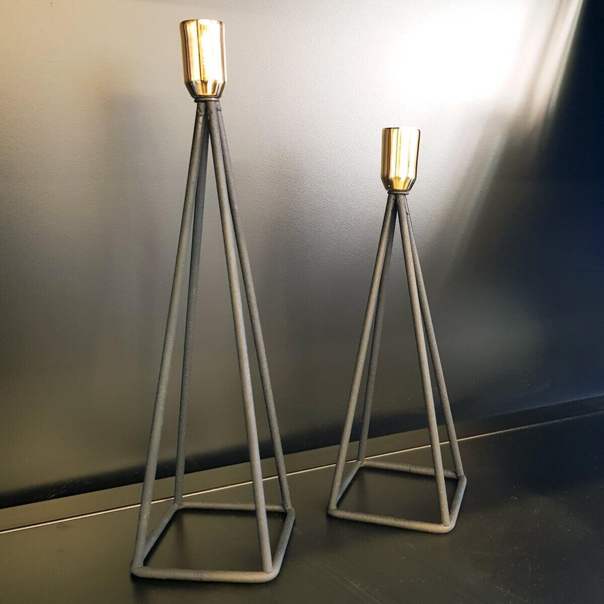 İkili Piramit Mumluk Metal Şamdan Seti Dekoratif Ürünler