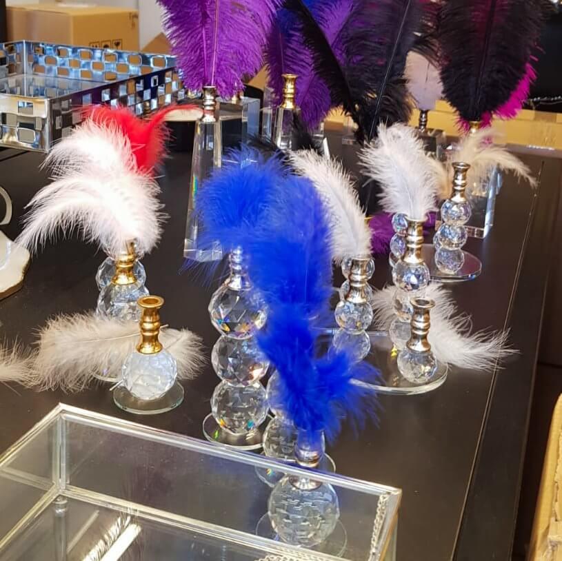 Üçlü Kristal Cam Dekor Tüylü Dekoratif Ürünler